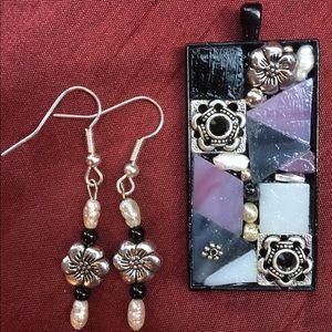 Handmade black/pink pendant and earrings